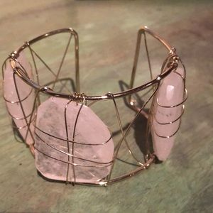 Jewelry - Cuff bracelet with 3 large light pinkish stones.